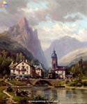 An Angler before an Alpine Riverside Town by  Charles Euphrasie Kuwasseg (Painting ID: LA-2208-KA)