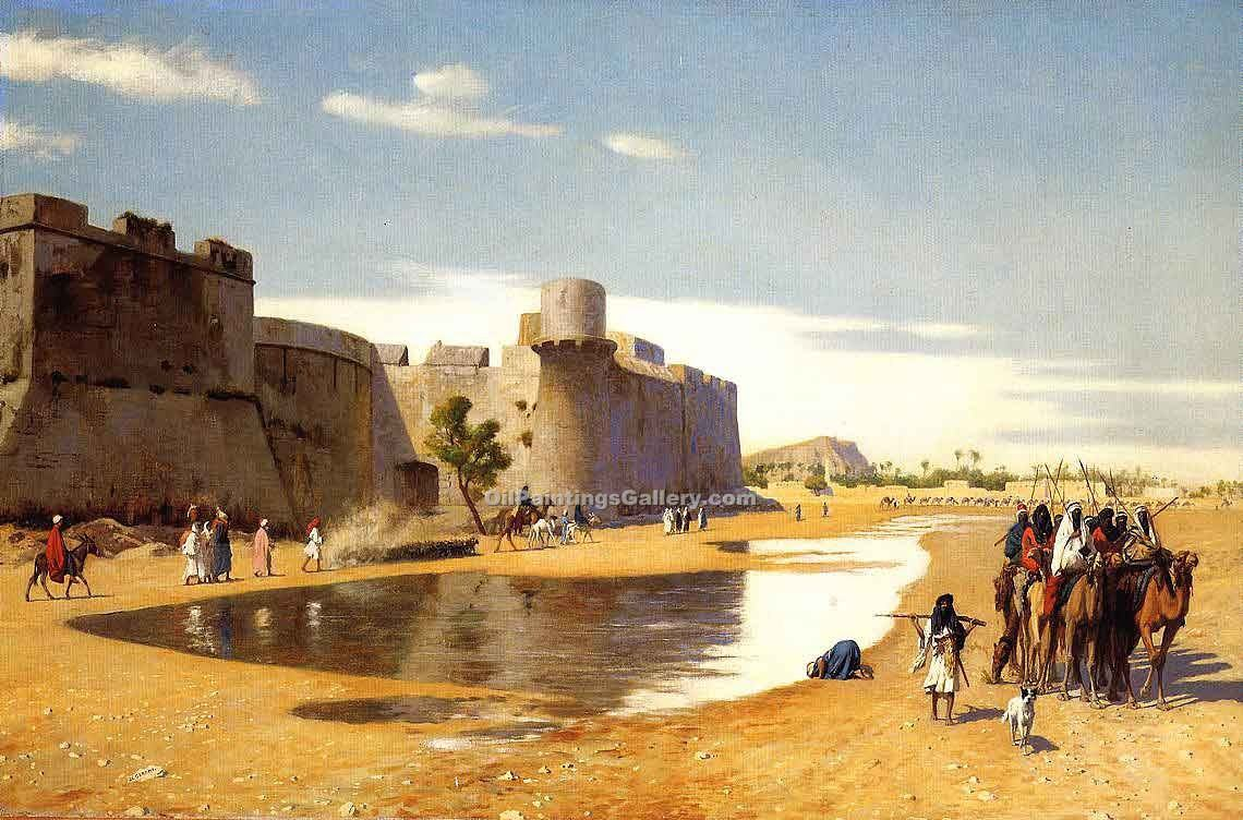 An Arab Caravan Outside a Fortified Town Egypt by Jean Leon Gerome | Impressionist Paintings - Oil Paintings Gallery