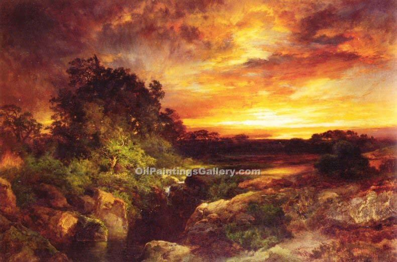 """An Arizona Sunset Near the Grand Canyon"" by  Thomas Moran"