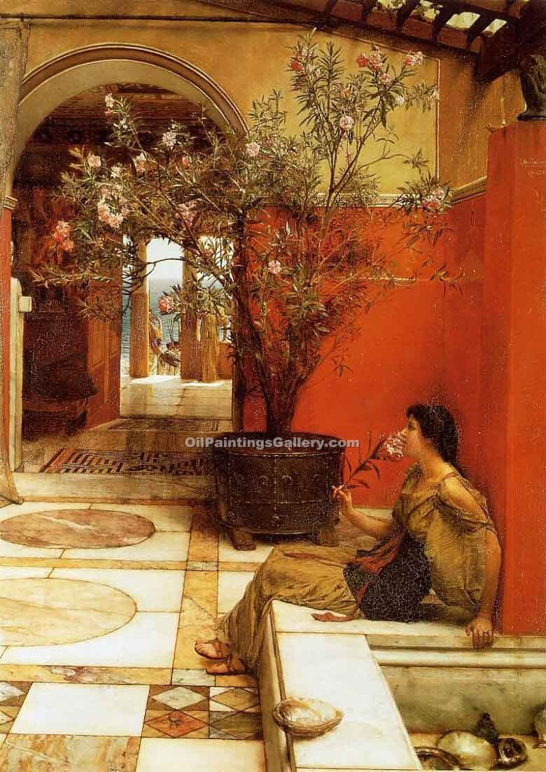 """An Oleander"" by  Sir Lawrence Alma Tadema"