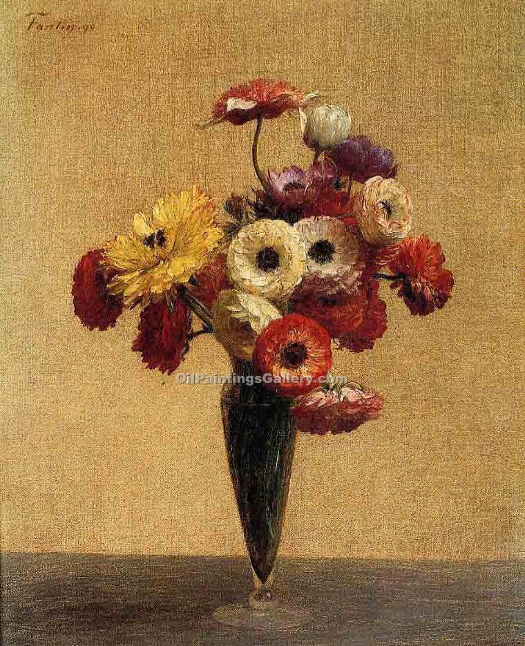 """Anemones and Buttercups"" by  Henri Fantin Latour"