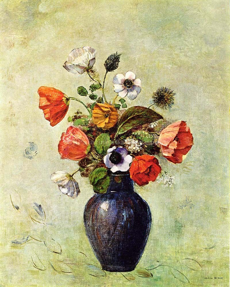 Anemones And Poppies In A Vase By Odilon Redon Painting