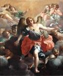 Angel Gabriel in Glory with Angel Musicians and Cherubs by  Agostino Carracci (Painting ID: DA-2015-KA)