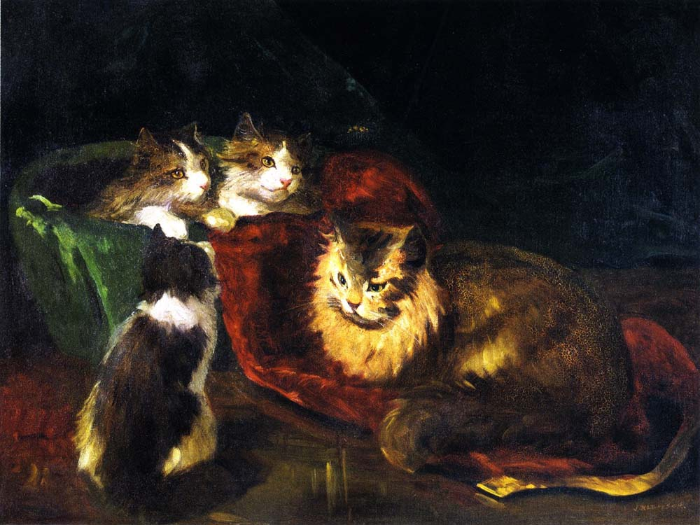 Angora Cats by Joseph Kleitsch | Artwork For Sale - Oil Paintings Gallery