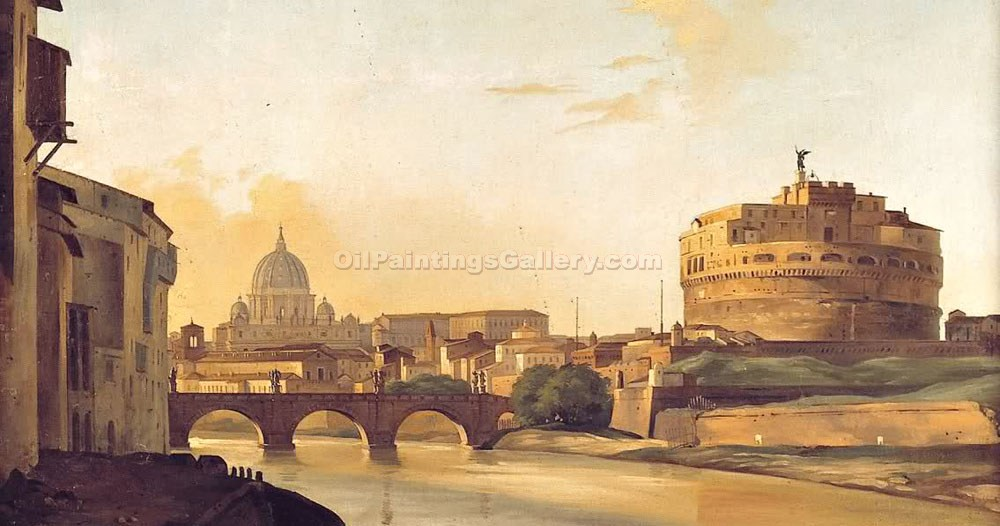 """Another View of the Tiber and the Castle Sant"" by  Ippolito Caffi"