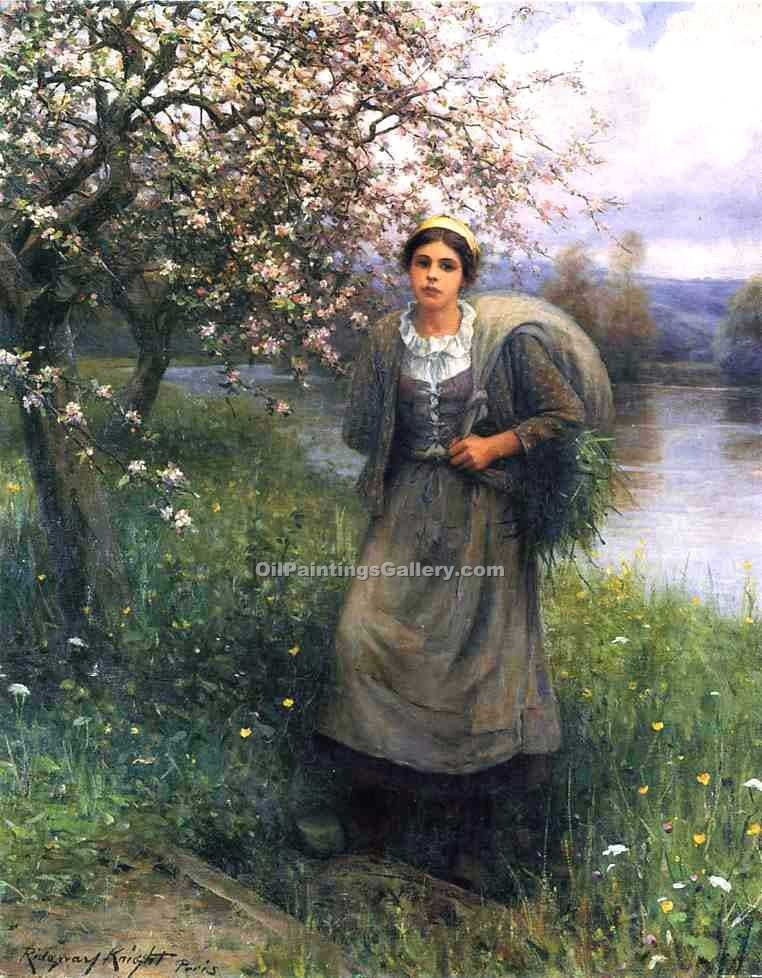 Apple Blossoms in Normandy by Daniel RidgwayKnight | Contemporary Fine Art - Oil Paintings Gallery