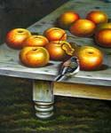 Apples and a Bird  (Painting ID: SL-2045-KA)