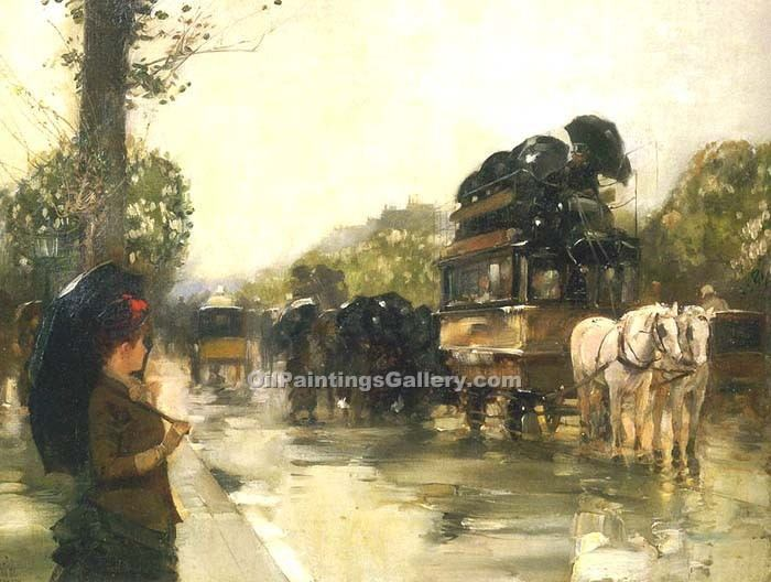 """April Showers Champs Elysees Paris"" by  Frederick Childe Hassam"