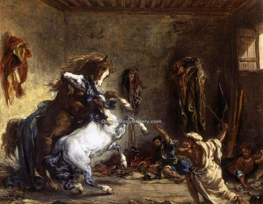"""Arab Horses Fighting in a Stable"" by  Eugene Delacroix"