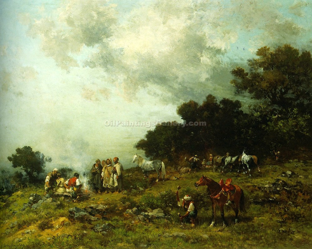 """Arab Horses in the Field"" by  Georges Washington"
