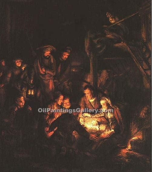 """Adoration of the Shepherds"" by  Harmenszoonvan Van Rijn Rembrandt"