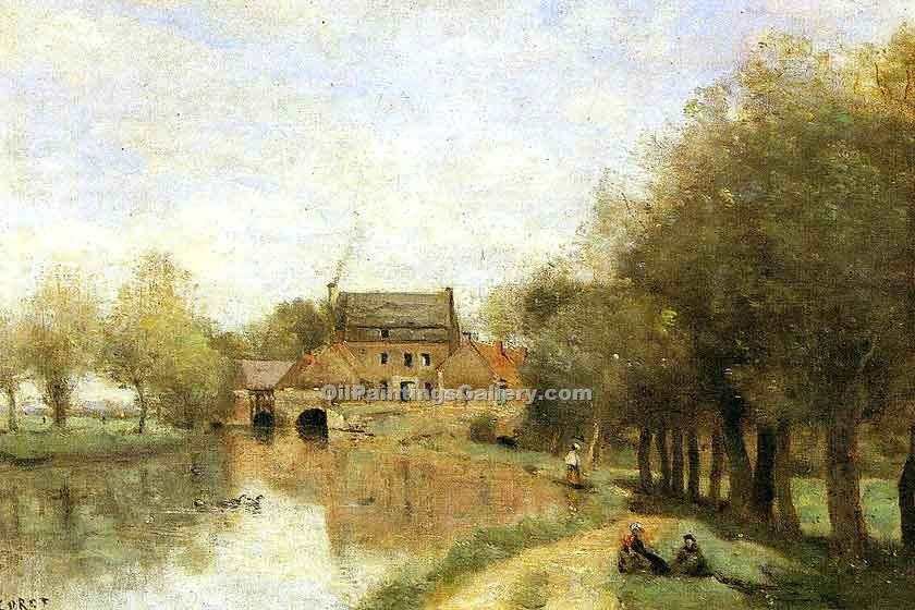 """Arleux du Nord the DrocourtMill on the Sensee"" by  Jean Baptiste Corot"