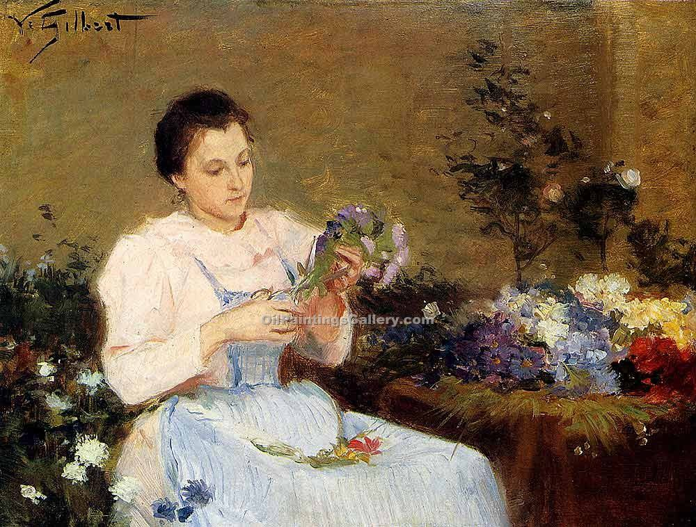"""Arranging Flowers For a Spring Bouquet"" by  Victor Gabriel Gilbert"