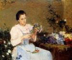 Arranging Flowers For a Spring Bouquet by  Victor Gabriel Gilbert (Painting ID: CM-1040-KA)