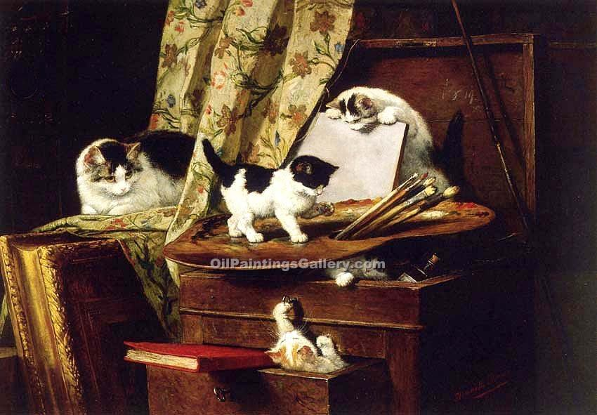 """Artful Play"" by  Henriette Ronner Knip"
