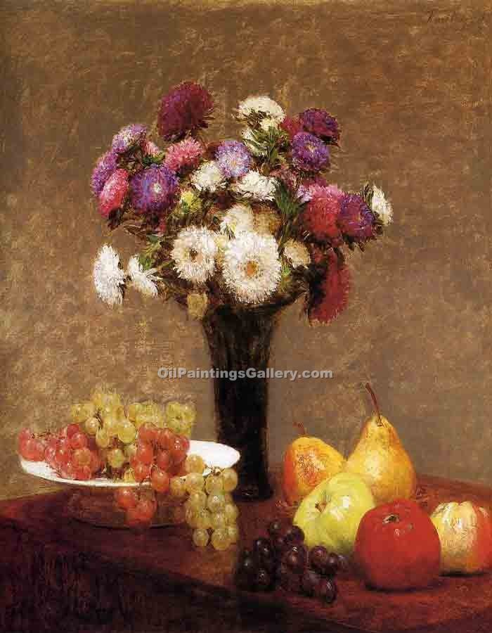 """Asters and Fruit on a Table"" by  Henri Fantin Latour"