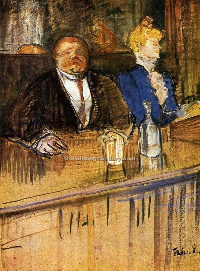 """At the Cafe The Customer and the Anemic Cashier 38"" by  Henri Toulouse Lautrec"