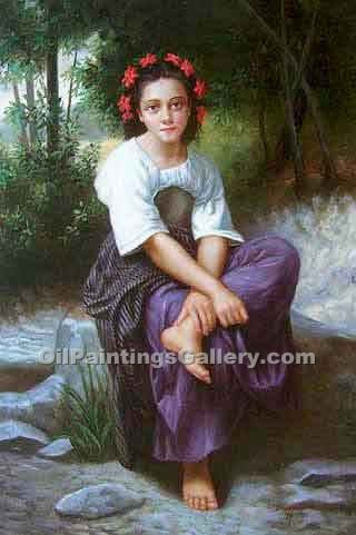 """At the Edge of the River"" by  Adolphe Bouguereau"