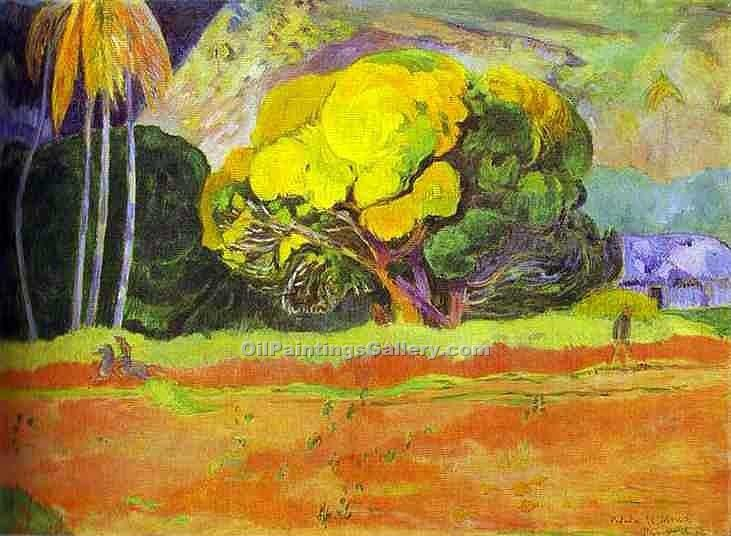 """At the Foot of a Mountain"" by  Paul Gauguin"