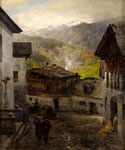 At the Foot of the Mountain in the Village Rigi by  Oswald Achenbach (Painting ID: LA-2264-KA)