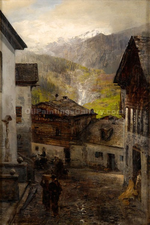 """At the Foot of the Mountain in the Village Rigi"" by  Oswald Achenbach"