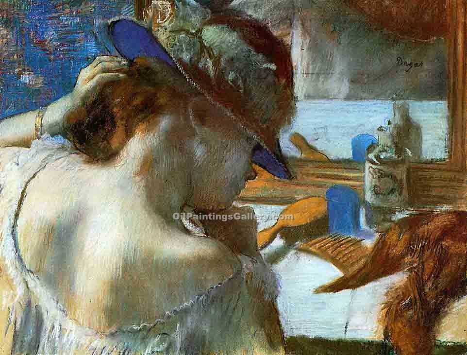 """At the Mirror"" by  Edgar Degas"
