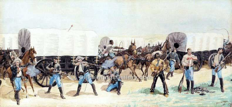 """Attack on the Supply Train"" by  Frederic Remington"
