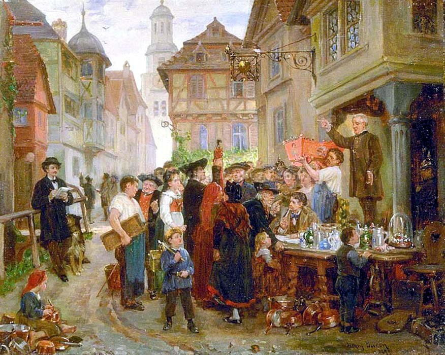 """Auction Sale in Alsace"" by  Henry Bacon"