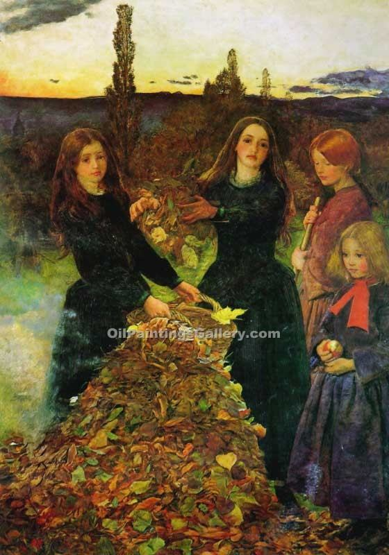 Autumn Leaves by Millais John Everett | Paintings On Canvas - Oil Paintings Gallery