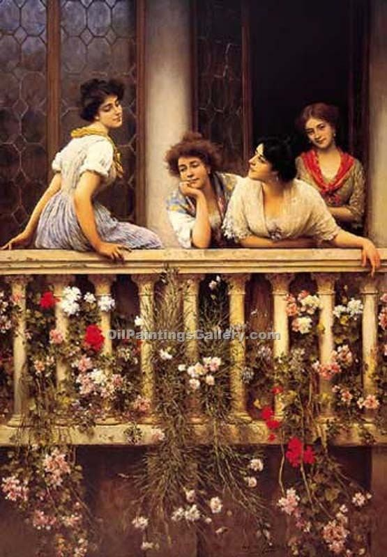 Balcony by Eugene deBlaas | Paintings Of Famous Artists - Oil Paintings Gallery