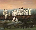 Baptizing in the Jordan River  (Painting ID: GE-0780-KA)