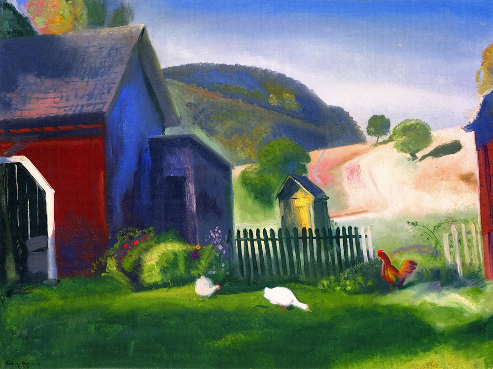 """Barnyard and Chickens"" by  George Bellows"