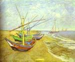 Barques Sur La Plage (Fishing Boats) by  Vincent Van Gogh (Painting ID: VG-0330-KA)