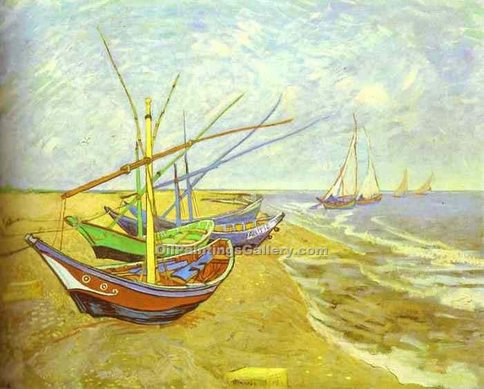 """Barques Sur La Plage (Fishing Boats)"" by  Vincent Van Gogh"