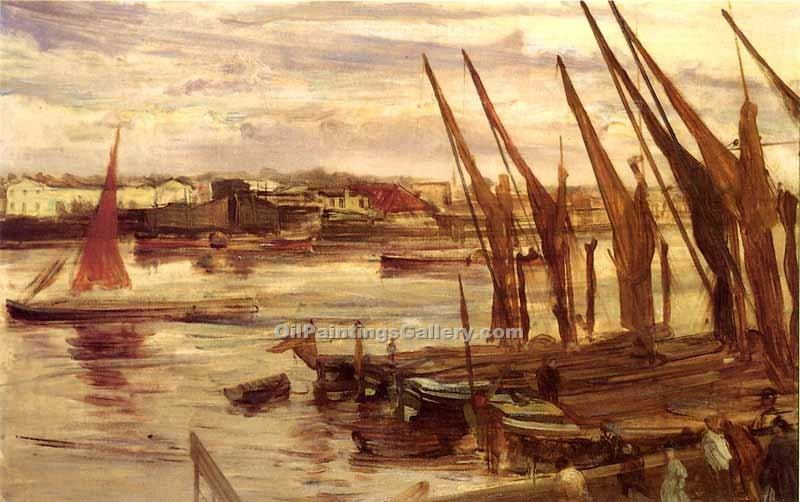 Battersea Reach by Whistler James McNeill | Modern Art Online Gallery - Oil Paintings Gallery