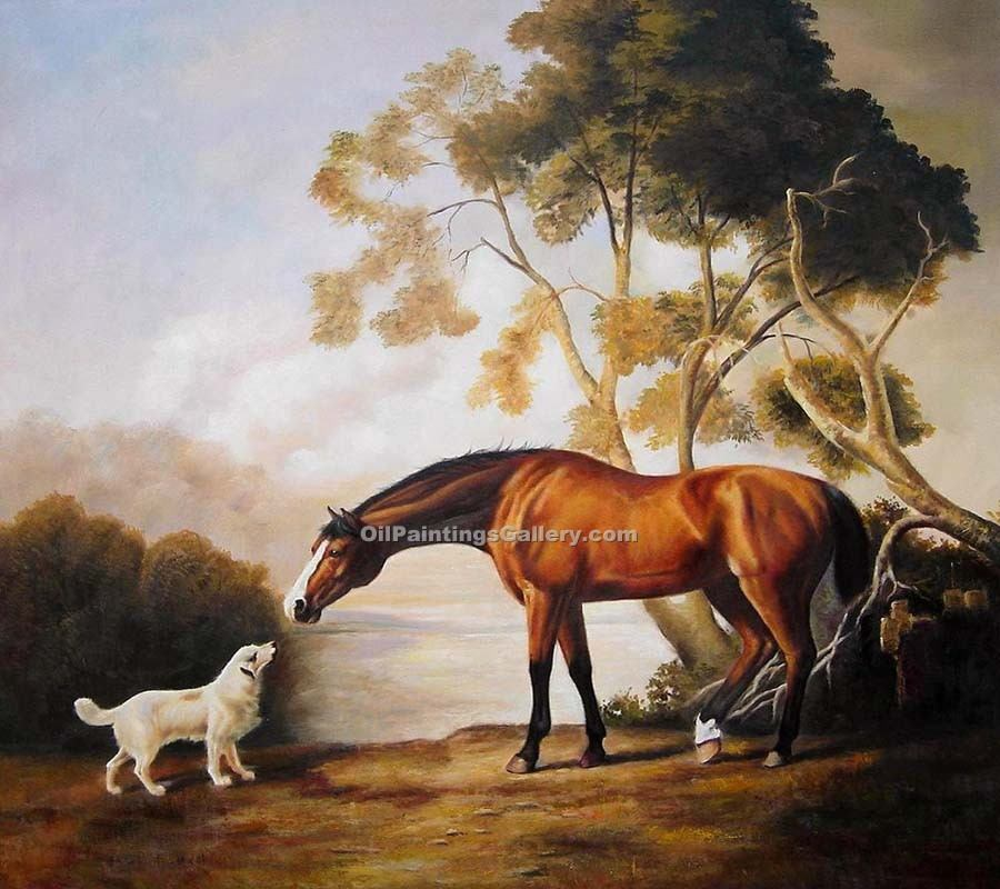 """Bay Horse and White Dog"" by  George Stubbs"