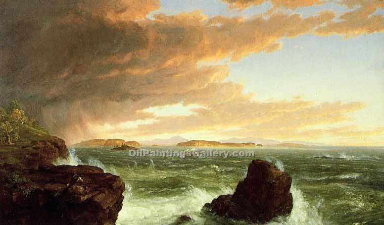 """Bay from Mount Desert Island"" by  Thomas Cole"