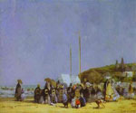Beach Scene at Trouville by  Eugene Louis Boudin (Painting ID: LA-2384-KA)