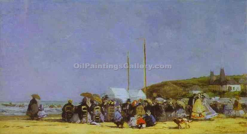 """Beach Scene at Trouville"" by  Eugene Louis Boudin"