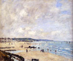 Beach at Trouville by  Eugene Louis Boudin (Painting ID: LA-2386-KA)