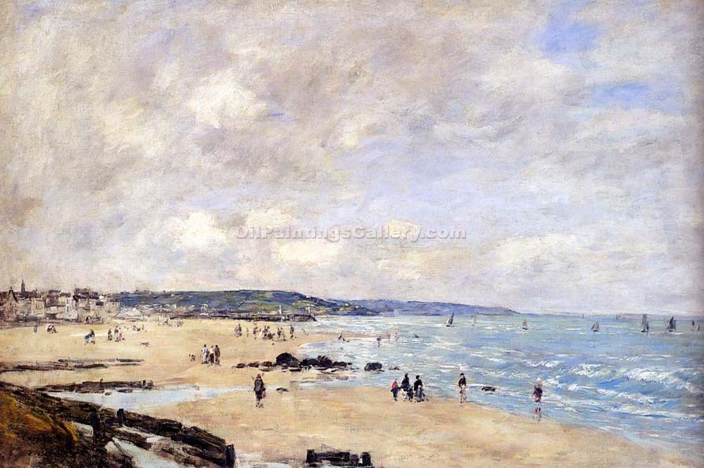"""Beach at Trouville"" by  Eugene Louis Boudin"