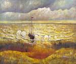 Beach with Figures and Sea with a Ship by  Vincent Van Gogh (Painting ID: VG-0332-KA)