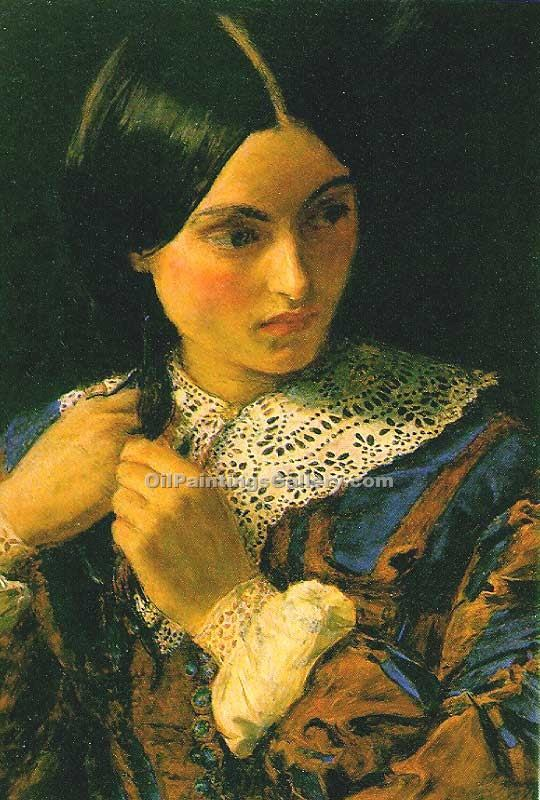 Beauty by Millais John Everett | Oil Paintings On Canvas - Oil Paintings Gallery