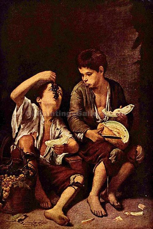 Beggar Boys Eating Grapes and Melon by Murillo Bartolome Esteban | Paintings For Sale Online - Oil Paintings Gallery