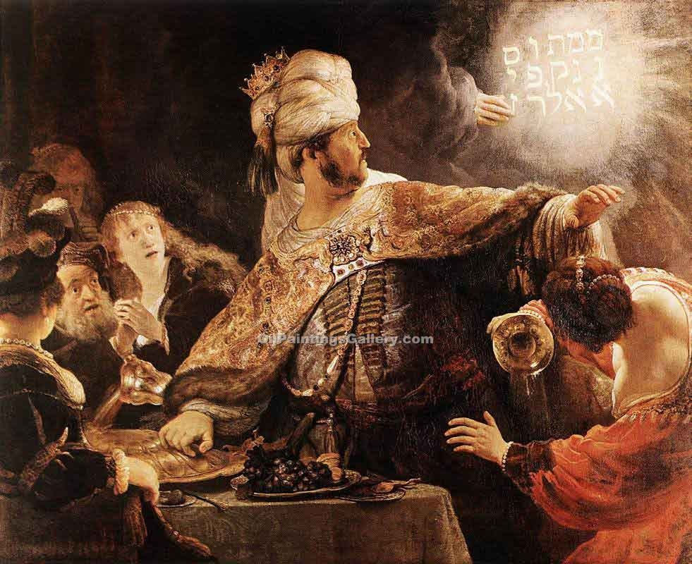 Belshazzar s Feast by Rembrandt Harmenszoonvan VanRijn | Black And White Painting - Oil Paintings Gallery