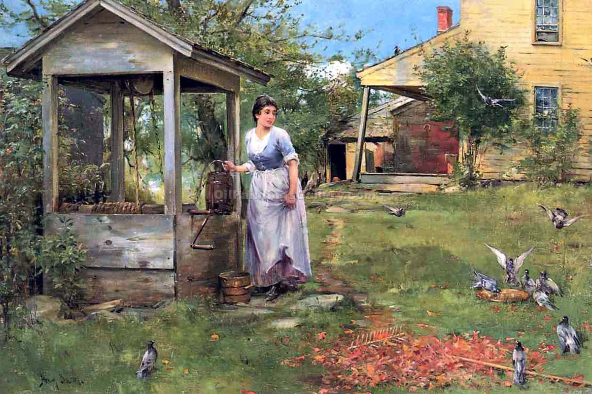 Bird Watching At The Well By Henry Bacon Painting Id La