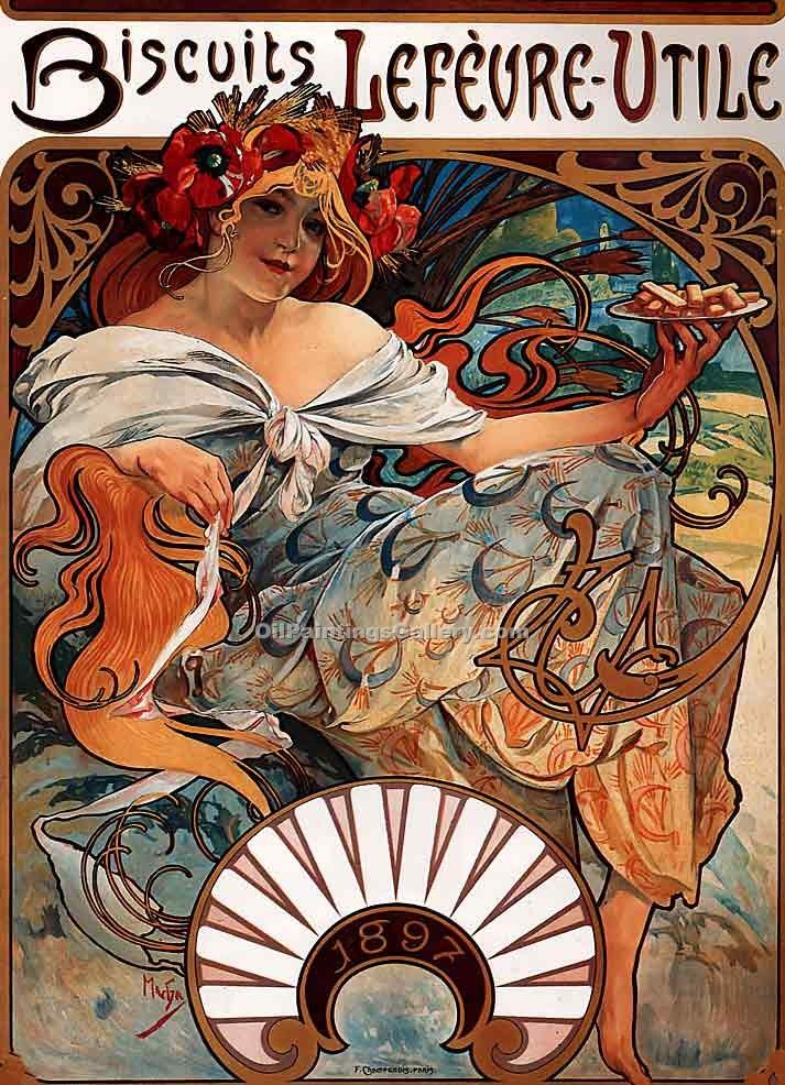 """Biscuits Lefevre Utile"" by  Alphonse Maria Mucha"