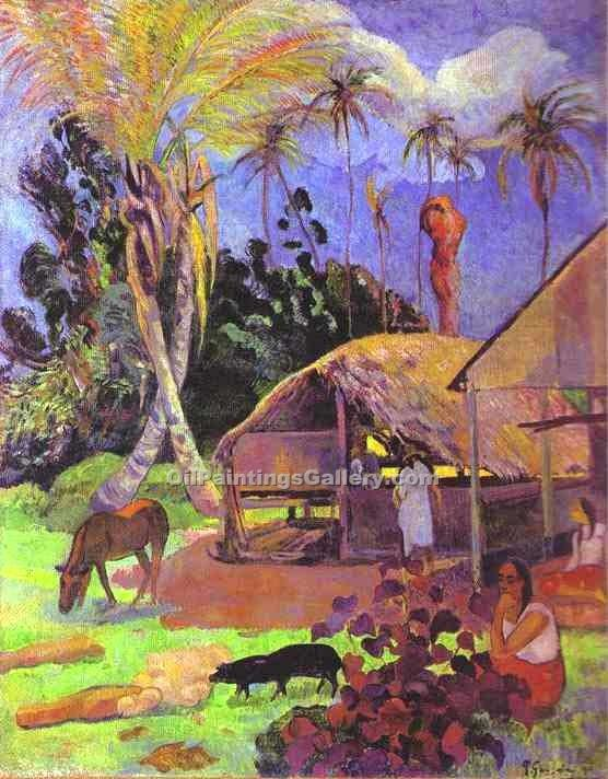 """Black Pigs"" by  Paul Gauguin"