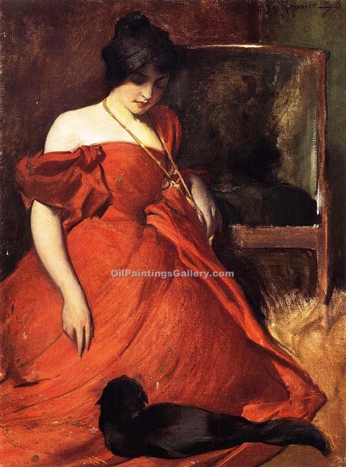 """Black and Red"" by  John White Alexander"