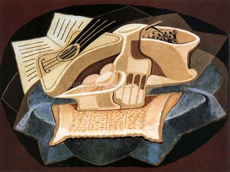 Blue Cover by Juan Gris | Best Online Art Gallery - Oil Paintings Gallery